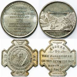 CLIFTON ROCKS RAILWAY opening day commemorative medal. Dated March 11th 1893. Makers Sale Bham.