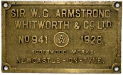 Worksplate Sir W.G.ARMSTRONG WHITWORTH & CO LTD NO 941 1928. Cast brass ex GWR Collett 0-6-0T