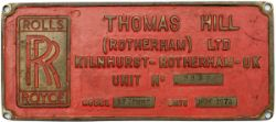 Worksplate rectangular brass THOMAS HILL ROTHERHAM LTD INIT No 283V 37 TONNE BUILT NOV 1978. From