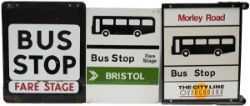 A selection of 3 bus signs from the Bristol area: enamel double sided BUS STOP with separate fare