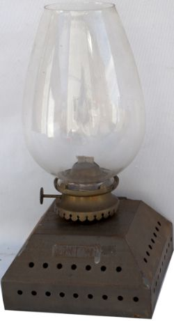 Great Eastern Railway platform lamp interior, steel plated LINTON. Complete with brandy glass type