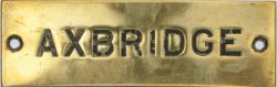 GWR brass Signal Box Shelfplate AXBRIDGE, hand engraved with original wax filling. Measures 4.75in x
