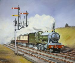 Original oil painting on canvas of GWR Hall 4-6-0 5941 CAMPION HALL near Twyford by Joe Townend GRA.