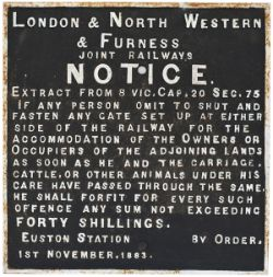 London & North Western & Furness Joint Railway cast iron ACCOMODATION CROSSING sign measuring 18in x
