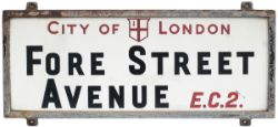 City Of London china glass FORE STREET AVENUE EC2 street sign complete with original steel frame.