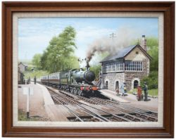 Original oil painting by DON BRECKON dated 1987 of GWR COLLETT 0-6-0 No 3201 at TALLYLLYN