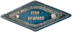Diesel worksplate diamond cast aluminium North British Locomotive No 27859 of 1959 Ex British
