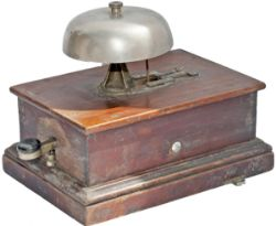 GWR mahogany cased block bell with mushroom type bell, in original condition.
