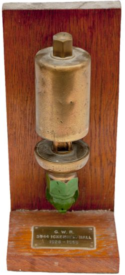 GWR small locomotive brass whistle, nicely mounted on a mahogany plinth with brass plate attached