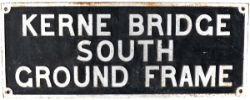 GWR cast iron ground frame boxboard KERNE BRIDGE SOUTH GROUND FRAME. Measures 46in x 18in, in ex