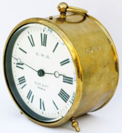 GWR brass drum clock with enamelled dial GWR KAY & CO PARIS. Case and movement stamped 4544 and