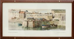 Carriage Print SEAHOUSES, NORTHUMBERLAND by Jack Merriott R.I. The harbour on the North Sunderland