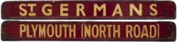 GWR / BR-W wooden carriage board PLYMOUTH [NORTH ROAD] - St GERMANS, painted straw on maroon and