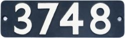 Smokebox numberplate 3748. Ex GWR 0-6-0PT built in 1937 a long time Bristol loco that was