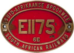 South African Railways dual language brass Cabside Numberplate E1175 6E. Ex Class 6E 3 ft 6 in Gauge