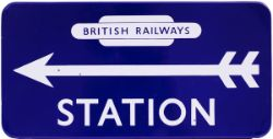 BR(E) FF enamel Station Direction 21in x 10.5 in British Railways in Totem at top with Left hand