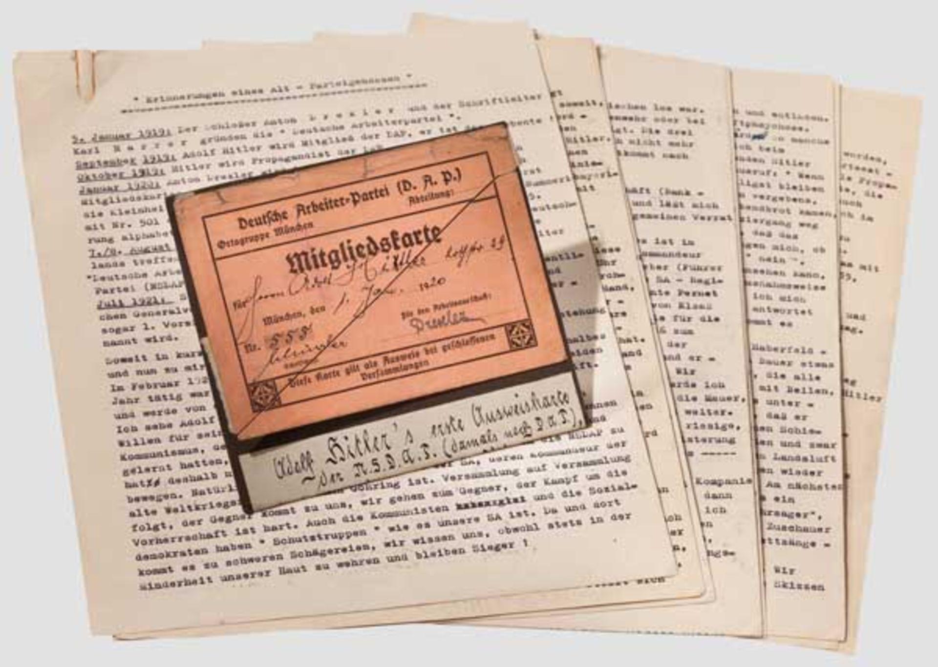 """Adolf Hitler - Mitgliedskarte der DAP mit der Nummer """"555"""" vom 1. Januar 1920 Lachsfarbener Vordruck"""