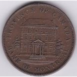 Canada (Lower Canada) 1842 2 Sous (Penny) Bank de Montreal on Ribbon, obv View of front of Bank,