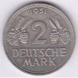 Germany 1951F - Two Mark, (KM111), GVF/NEF