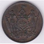 British North Borneo 1907H - cent, EF, traces of lustre, (KM2), Rare