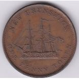 Canada - (New Brunswick Token) 1843 penny AUNC some lustre.