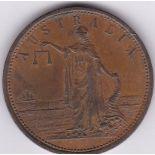 Australia -1862 (ND) Penny Token, R. Parker, Geelong Victoria, obv Ironmonger/Moorabose Street/