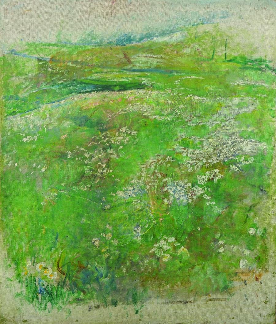 Lot 376 - Annie Louisa Swynnerton (1844-1933) British. 'Study of Flowers in a Meadow', Oil on Canvas,