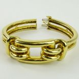 Vintage Possibly Cartier Heavy 18 Karat Yellow Gold Hinged Cuff Bangle Bracelet. Signed Cartier, 18K