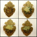 Set of 4 18/19th Century Probably Italian Carved and Gilt wood Cartouche Form Wood Panels With
