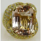 Lady's approx. 30.0 carat gem quality cushion cut kunzite, 2.50 carat round cut diamond and 18 karat