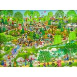 """Jo Sickbert, American (b.1931) Gouache on masonite """"Day At The Zoo"""" Signed lower right . Good"""