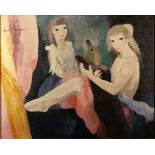 """after: Marie Laurencin, French (1885-1956) Oil on Canvas """"Femmes Avec Chien"""" Signed upper left. Good"""