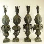 Set of Four (4) 19/20th Century Zinc Pineapple Finials. Unsigned. 3 in good condition, one in as
