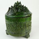 Chinese Han Dynasty Lead Glaze Pottery Hill Jar. Provenance: The Shepps Collection, Palm Beach,
