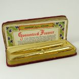 Vintage Eversharp 14 Karat Yellow Gold Skyline Fountain Pen and Repeater Pencil Set. Signed. Good