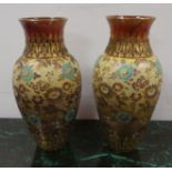 Pair of Doulton Slaters Floral Decorated Vases