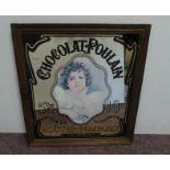 Antique Chocolat Poulain Advertising Mirror