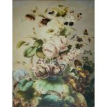THOMAS HOLLAND (Circa 1850) STILL LIFE OF FLOWERS Signed, watercolour and pencil 54 x 42.5cm. ++