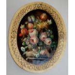 FOLLOWER OF JOHANN LAURENTZ JENSEN (1800-1856) A GLASS BOWL OF FLOWERS UPON A STONE LEDGE Oil on