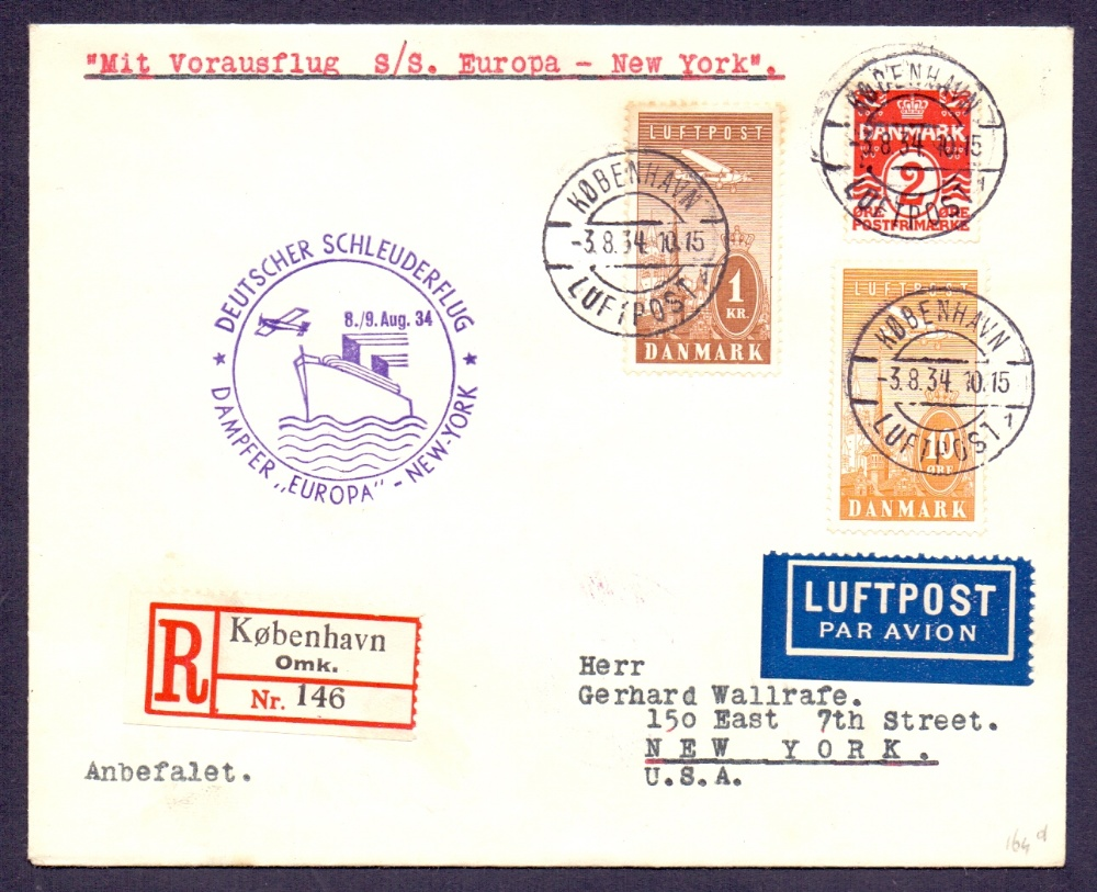 Lot 67 - Postal History : CATAPULT MAIL, 1934 8th