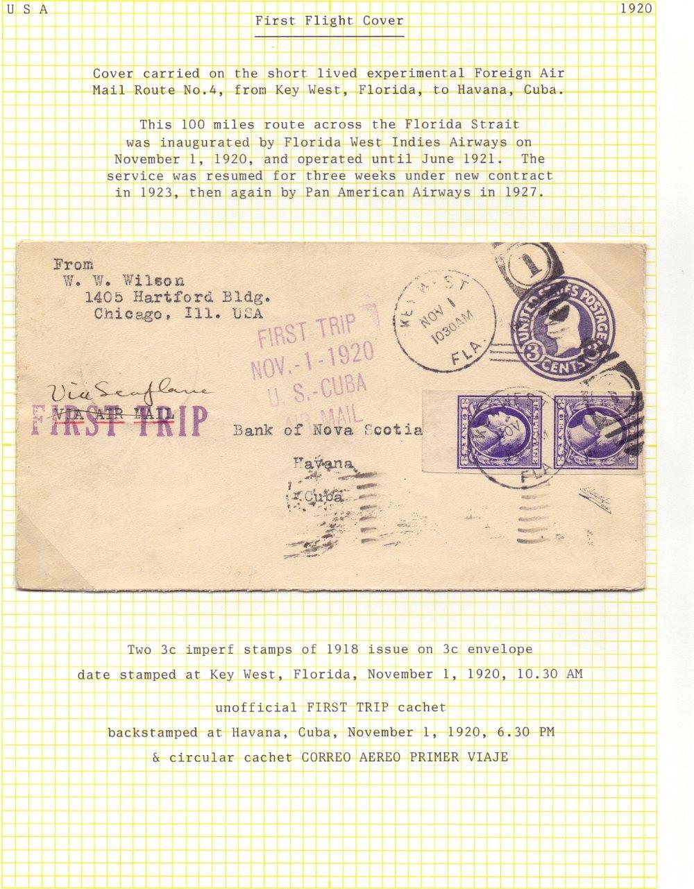 Lot 91 - Postal History , Airmail : USA, 1920 1st