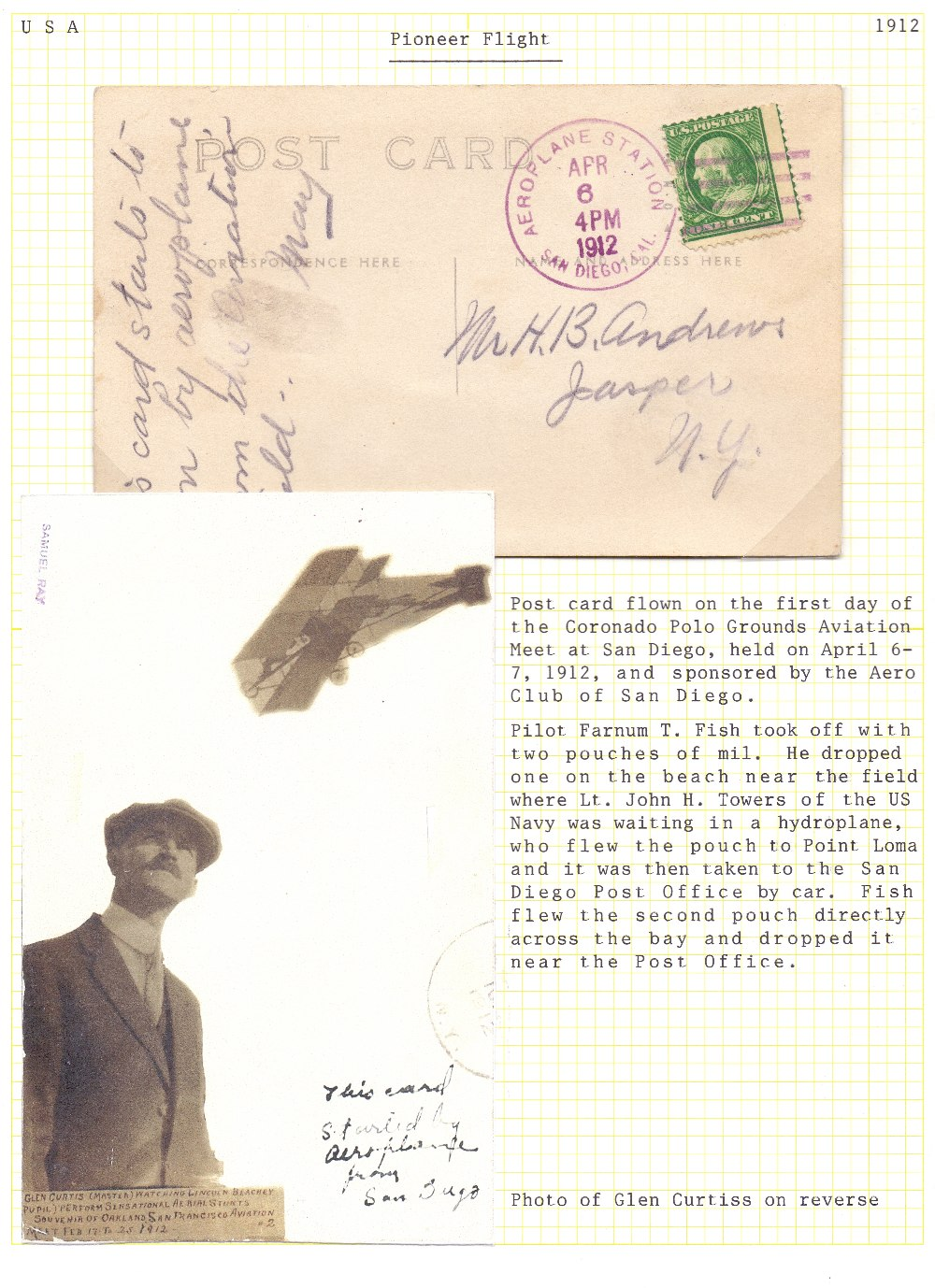 Postal History Airmail : USA, 1912 6th A