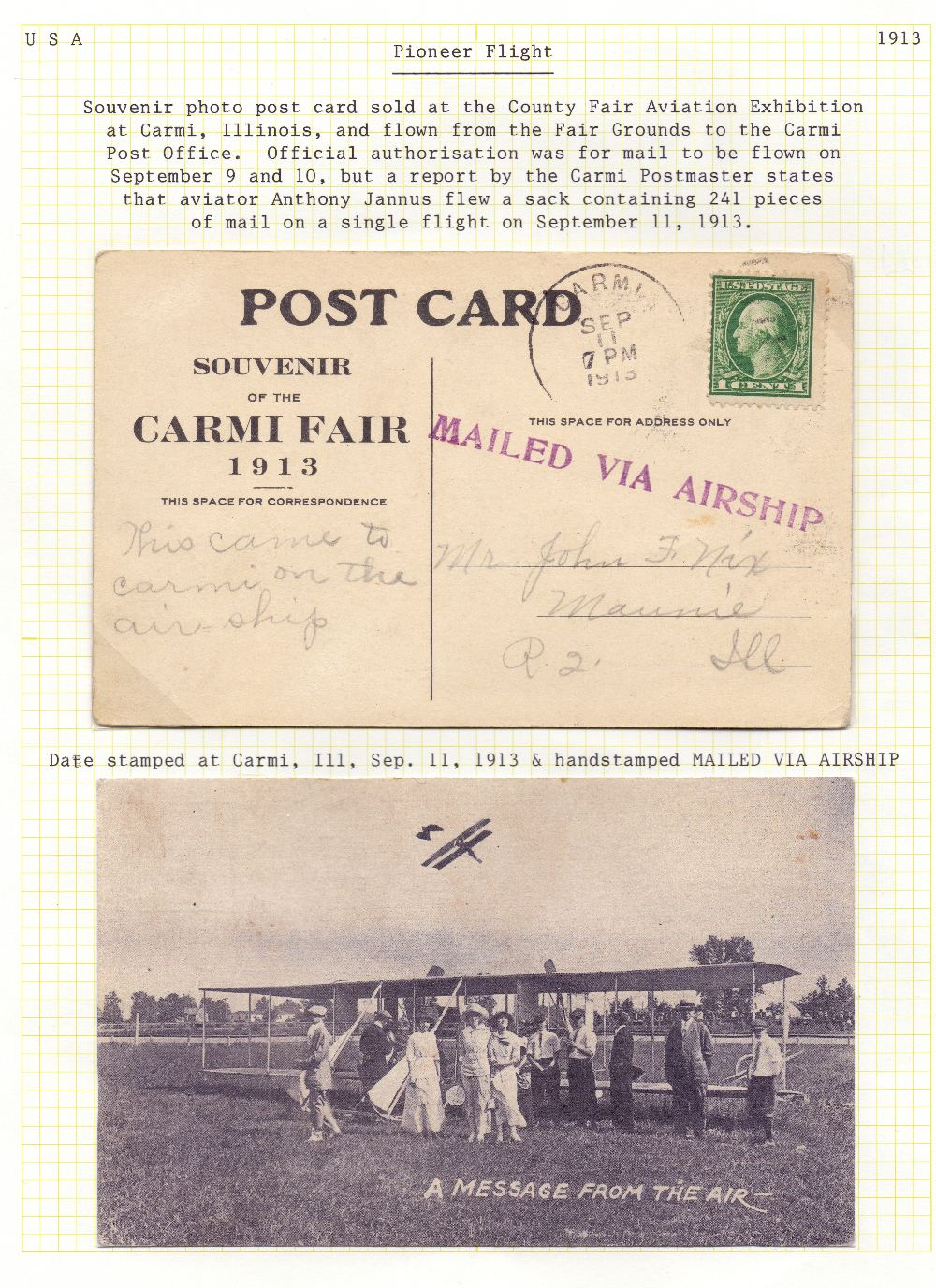 Lot 87 - Postal History, Airmail: USA, 1913 11th