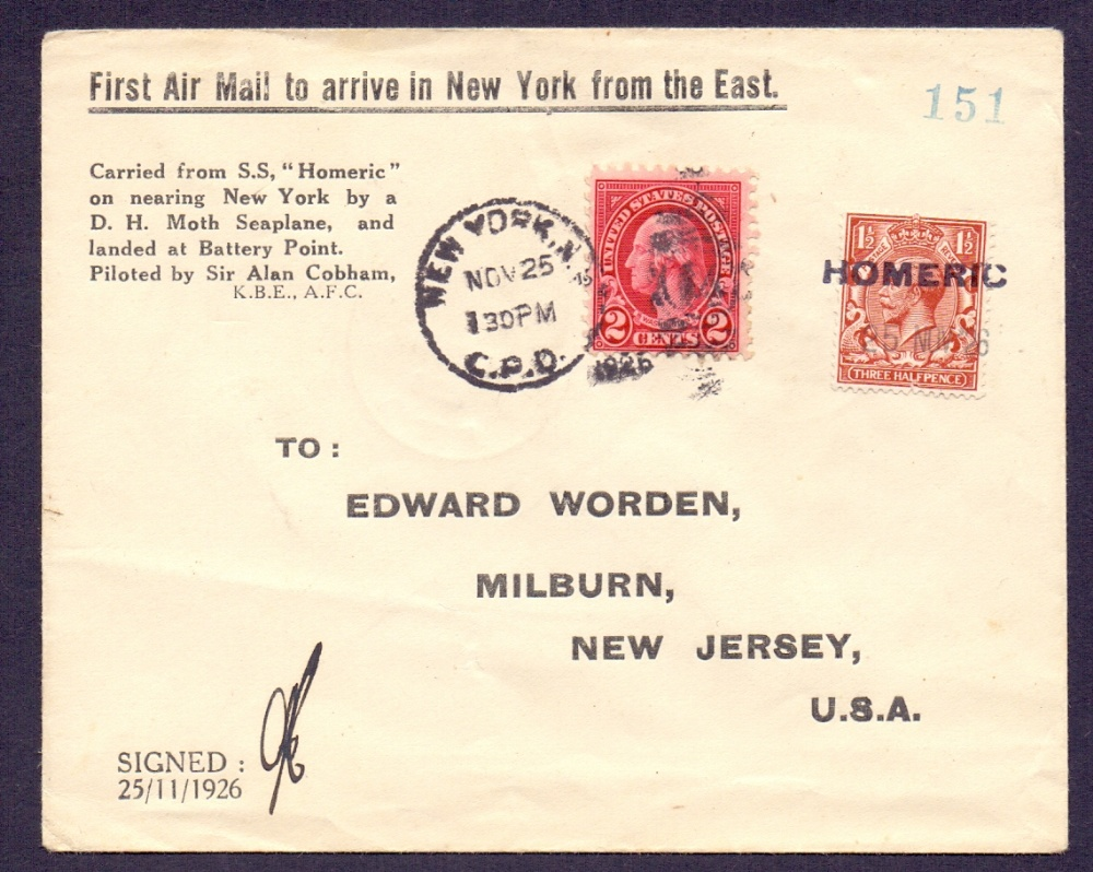 Lot 92 - Postal History . Airmail: USA, 1926 Ship