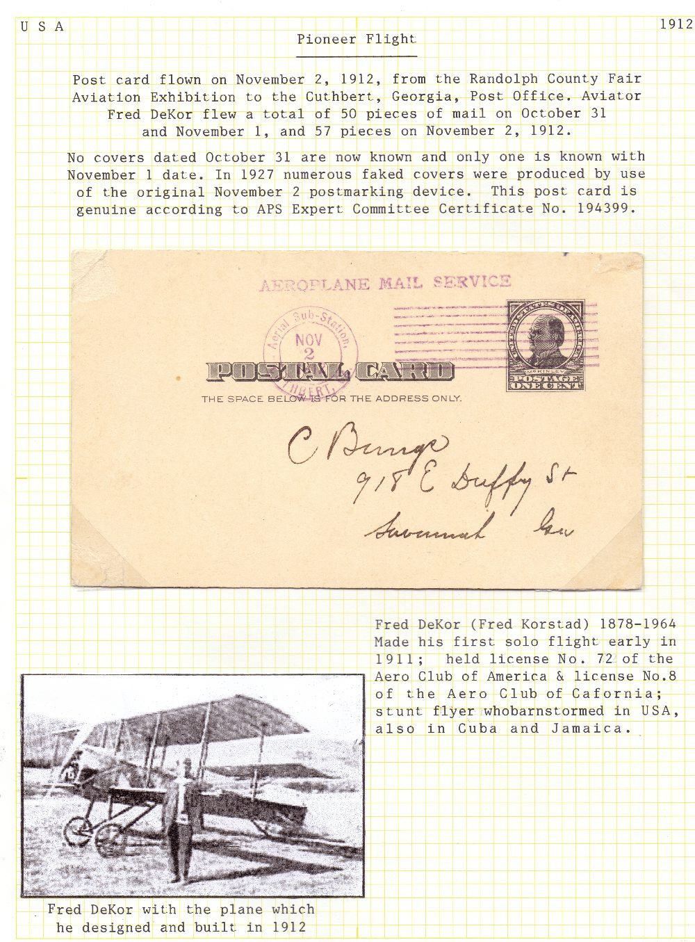 Lot 85 - Postal History , Airmail : USA, 1912 2nd
