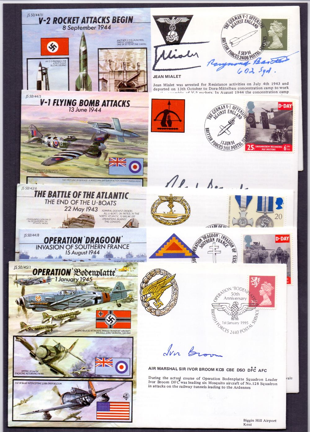 Lot 130 - WWII pilots, five different signed Joint