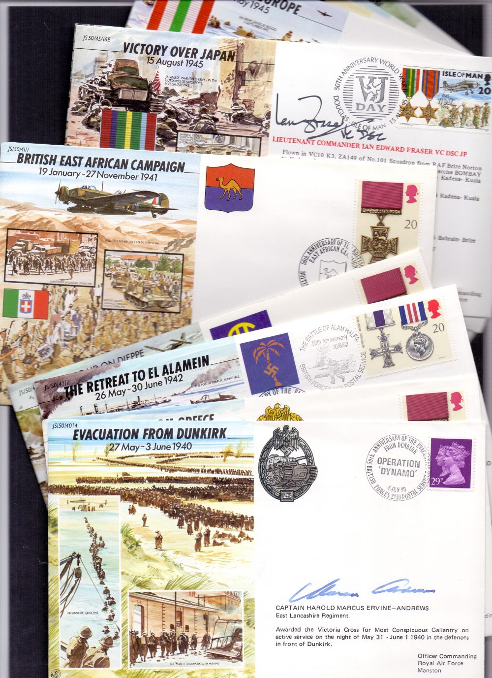 Lot 129 - VCs, selection of signed covers from Joi