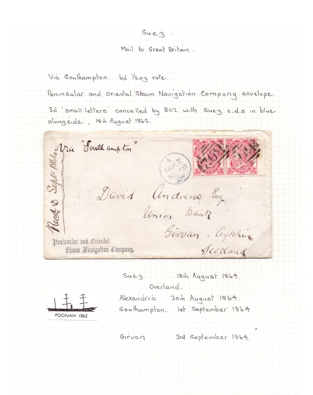 Lot 57 - Postal History : SUEZ, 1864 Peninsular &