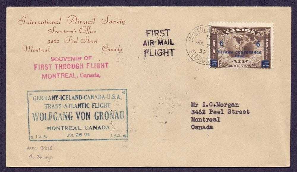 Lot 65 - Postal History Airmail : CANADA, 1932 Vo