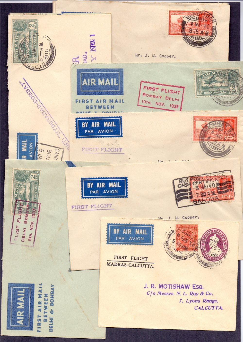 Lot 76 - Postal History . Airmail :INDIA, selecti